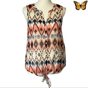 Lucky Brand Button Up Tie Front Sleeveless Blouse Size Small